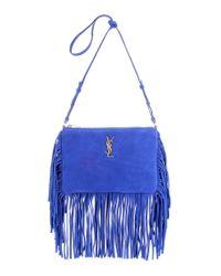 Saint Laurent Blue Monogram Fringed Suede Shoulder Bag