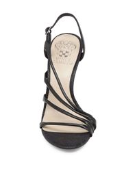 Vince Camuto | Black Tiernan Leather Sandals | Lyst