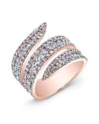 Anne Sisteron | Pink 18kt Rose Gold Diamond Serpent Ring | Lyst