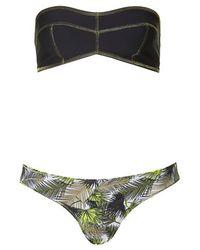 TOPSHOP Green Contrast Leaf Print Bandeau Bikini