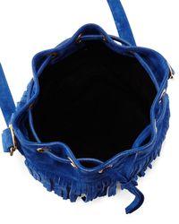 Saint Laurent - Blue Emmanuelle Fringed Bucket Bag - Lyst