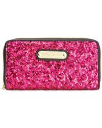 Betsey Johnson | Pink Macy's Exclusive Boxed Sequin Zip Around Wallet | Lyst