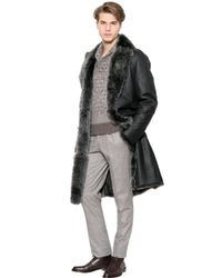 Canali Black Reversible Shearling Coat for men