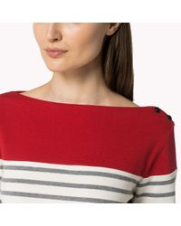 Tommy Hilfiger | Red Organic Cotton Striped Top | Lyst