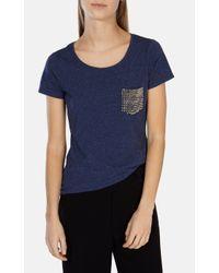 Karen Millen Blue Stud Pocket Tshirt