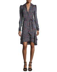 Diane von Furstenberg Black Tweed-print Tie-waist Long-sleeve Dress