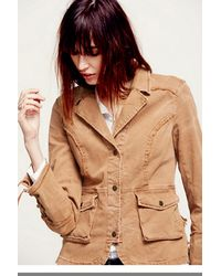 Free People Brown Womens Military Ruffle Twill Jacket