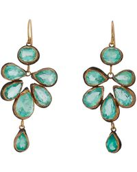 Judy Geib | Metallic Colombian Emerald, Gold & Oxidized Silver Malta Earrings | Lyst