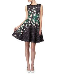 Erin Fetherston Black Floral Grid Fit And Flare