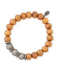 Sheryl Lowe | Metallic 10mm Sandalwood & Pave Diamond Bracelet | Lyst
