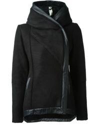 Giorgio Brato Black Hooded Shearling Jacket