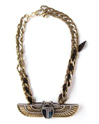 Lanvin Metallic Winged Beetle Necklace
