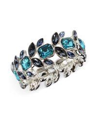 Anne Klein | Silvertone Aqua And Navy Blue Crystal Stretch Bracelet | Lyst