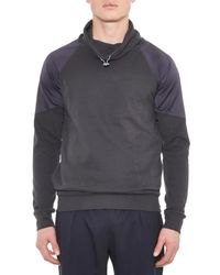 Paul Smith Gray Funnel-Neck Side-Zip Sweatshirt for men