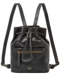 Fossil | Black Vickery Leather Drawstring Backpack | Lyst
