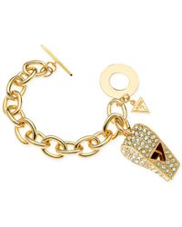 Guess | Metallic Gold-Tone Pavé Whistle Charm Bracelet | Lyst