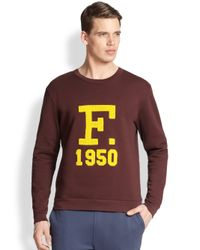 Façonnable Red F Varsity Logo Sweatshirt for men