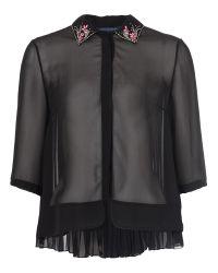 French Connection Black Siren Jewel Collar Shirt