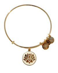 ALEX AND ANI | Metallic Lotus Peace Petals Epoxy Expandable Wire Bangle | Lyst