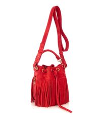 Saint Laurent | Red Emmanuelle Small Fringed Bucket Bag | Lyst