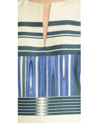 Tory Burch Blue Mixed Pattern Mikado Dress - Parque Stripe