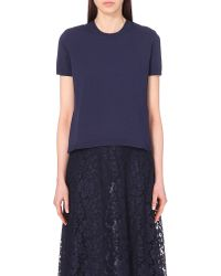 Valentino - Blue Lace-back Knitted Top - Lyst