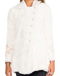 Free People | White Swing Faux Fur Coat in Ivory | Lyst