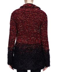 Lanvin Black Boucle-knit Faux-fur-trimmed Coat