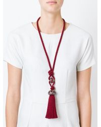Lanvin | Red Tasseled Rope Necklace | Lyst