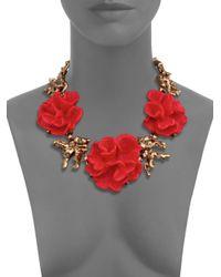Oscar de la Renta | Red Coral Flower Necklace | Lyst
