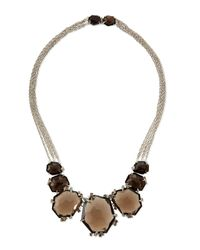 Alexis Bittar Fine - Metallic Large Smoky Quartz & Diamond Cluster Necklace - Lyst