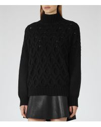 Reiss - Black Beatrix Cable-stitch Jumper - Lyst
