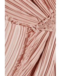 Nina Ricci Pink Lace-trimmed Crinkled-satin Gown