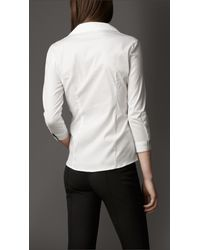 Burberry White Dropped Collar Shirt