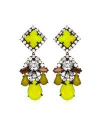 Shourouk | Green Square Swarovski Crystal Earrings | Lyst
