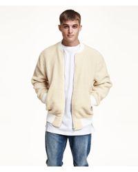 H&M Natural Pile Bomber Jacket for men