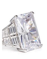 CZ by Kenneth Jay Lane | Metallic Angle-cut Clear Crystal Ring | Lyst