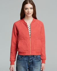 Marc By Marc Jacobs Red Jacket Willier Quilted Knit Bomber