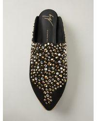 Giuseppe Zanotti Black Embellished Mules