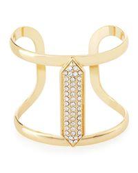 Lydell NYC - Metallic Crystal-studded Golden Cuff Bracelet - Lyst