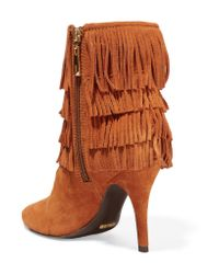 Schutz Brown Kassia Fringed Suede Ankle Boots