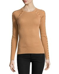 Michael Kors - Brown Long-sleeve Studded Top - Lyst