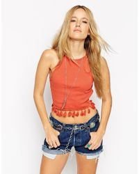 ASOS | Red Festival Crop Top In Rib With Pom Pom Hem | Lyst