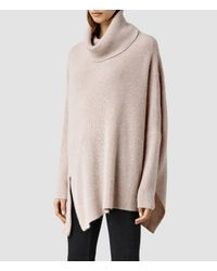 AllSaints - Pink Able Roll Neck Sweater - Lyst