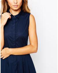Y.A.S Blue Homie Sleeveless Shirt Dress