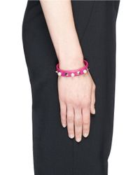 Valentino | Purple 'rockstud' Faux Pearl Leather Cuff | Lyst