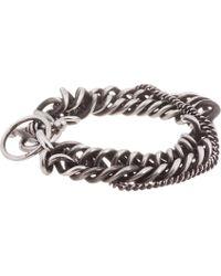 Ann Demeulemeester Metallic Antiqued Silver Heavy Chain Bracelet for men