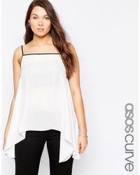 Asos Curve | White Cami With Hanky Hem | Lyst