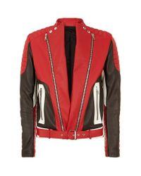 Balmain Red Contrast Trim Leather Biker Jacket for men