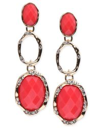 Jones New York | Pink Gold-tone Coral Stone And Crystal Triple Drop Earrings | Lyst
